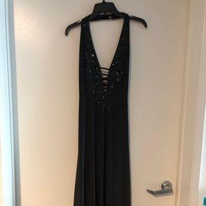 ANGL Vegas Beaded Ladder Bck Maxi Dress